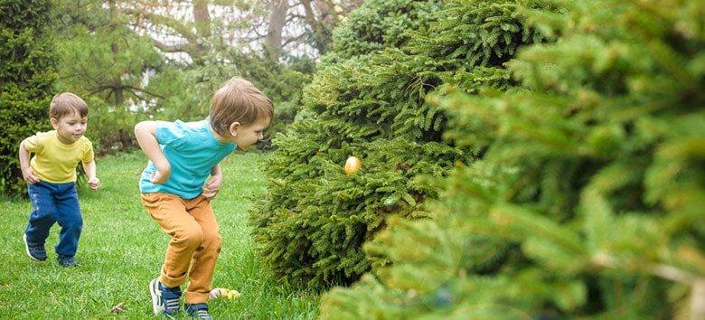 Kids on an egg hunt in Australia.