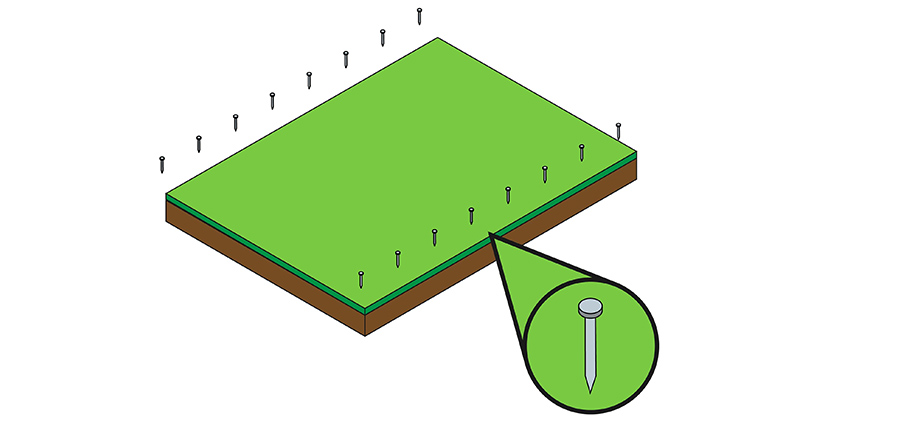 A visual explanation of how to set the turf in place