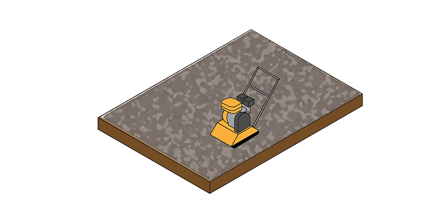 A visual explanation compacting the base for the artificial grass.