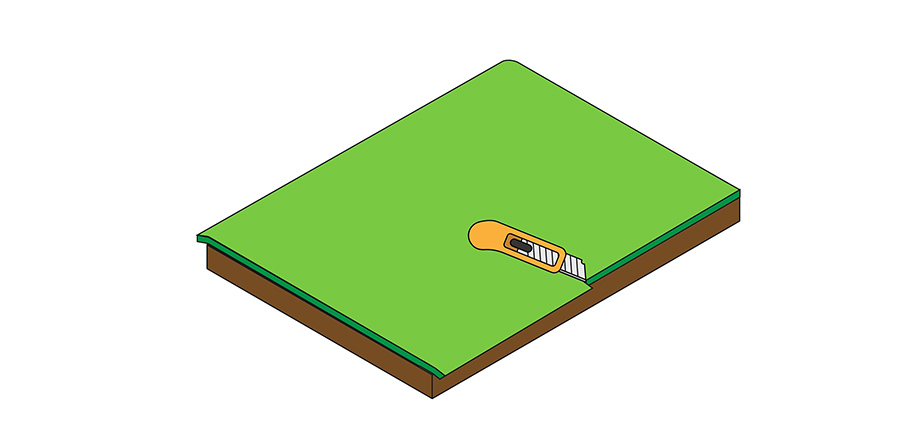 A visual explanation of how to trim the edges of the fake turf.