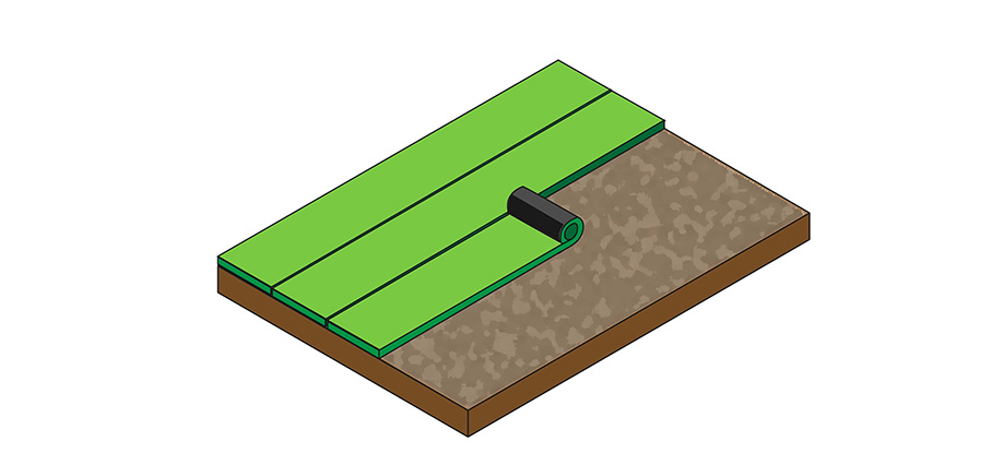 A visual explanation of rolling the turf and setting it in place