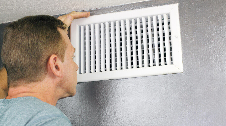 Ducted air conditioning vent in house