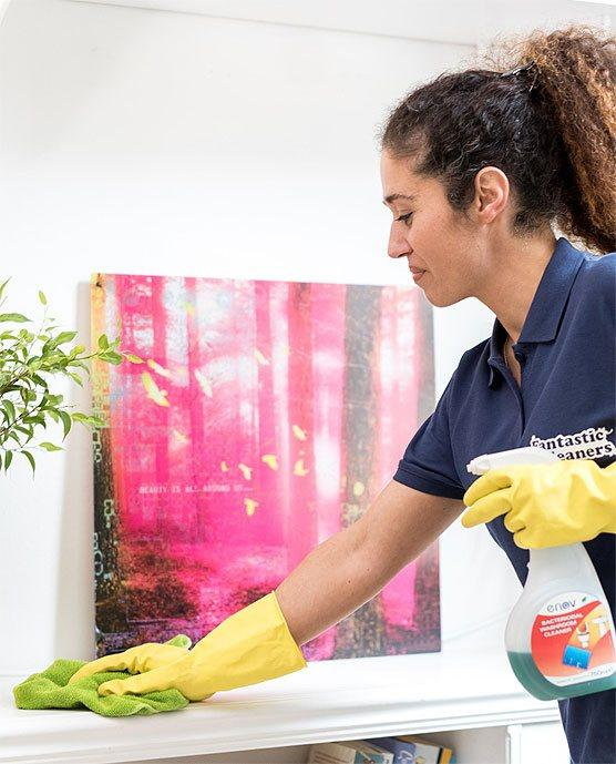 Fantastic cleaner wiping a surface