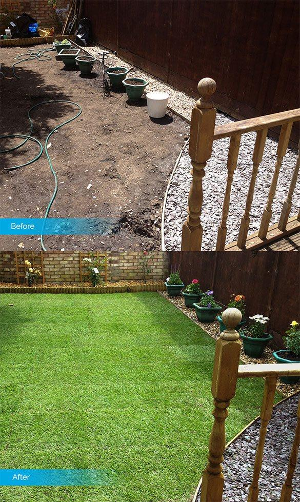 Before & after landscaping image of a back yard garden